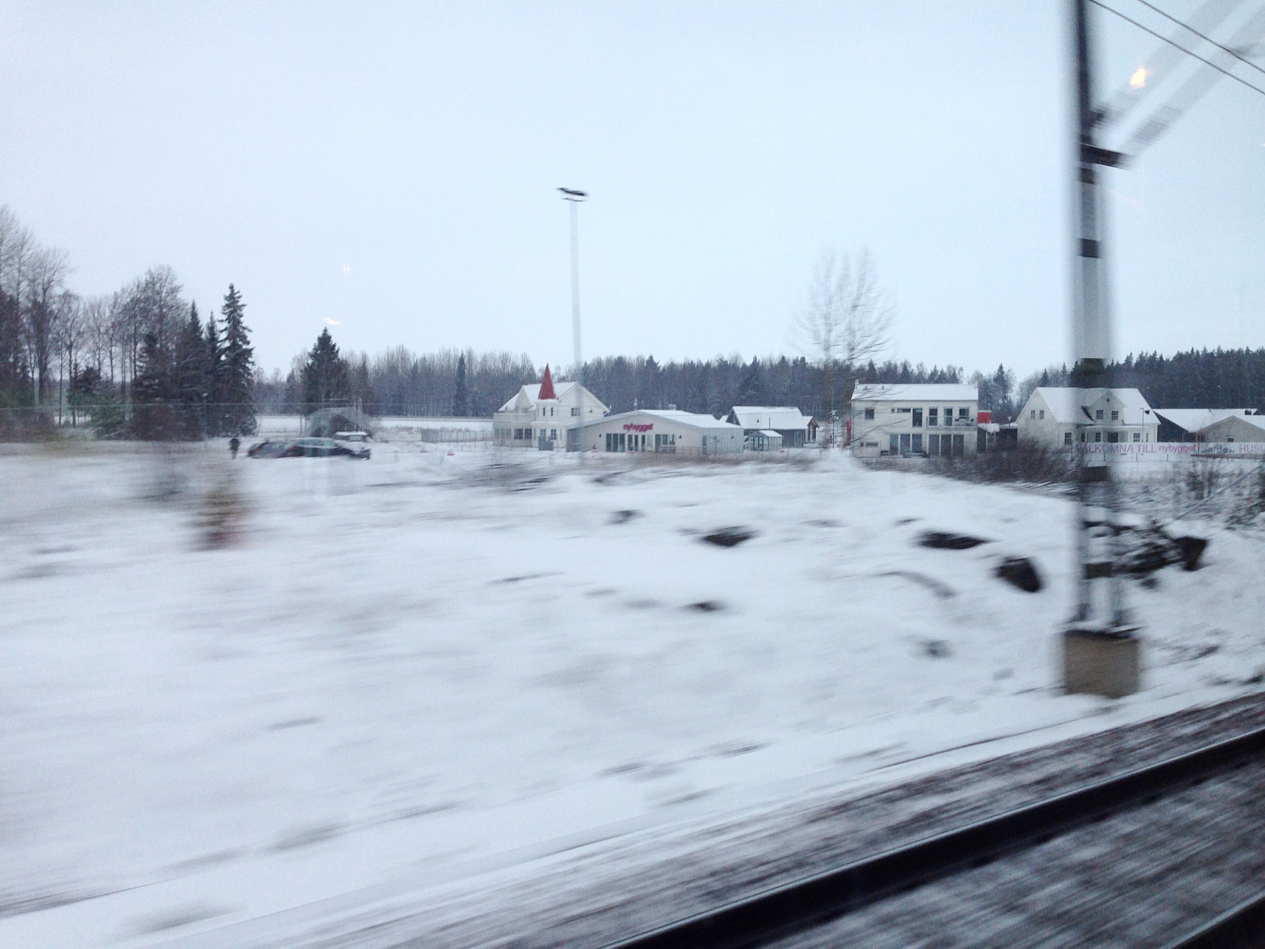 Snow on Stockholm Train From Airport